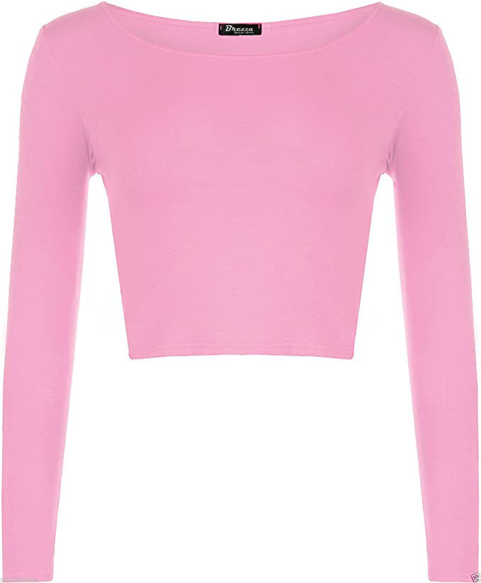 265b7e309a9d Generic New Damen Long Sleeve Scoop Hals Crop Kurz Länge Konstraststreifen  Stretch Top  Amazon.de  Bekleidung