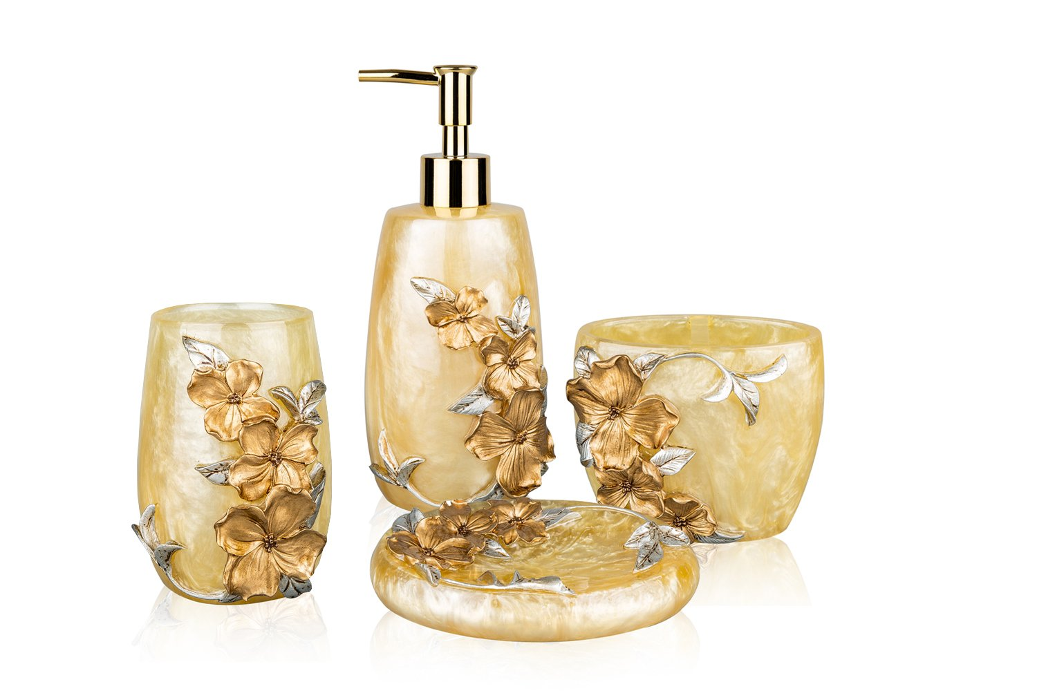 SILOKO 4 Piece Bathroom Accessory Set 3D Silver&Gold Floral with Soap Dispencer,Toothbrush Holder,Tumbler and Soap Dish 132-Bath001