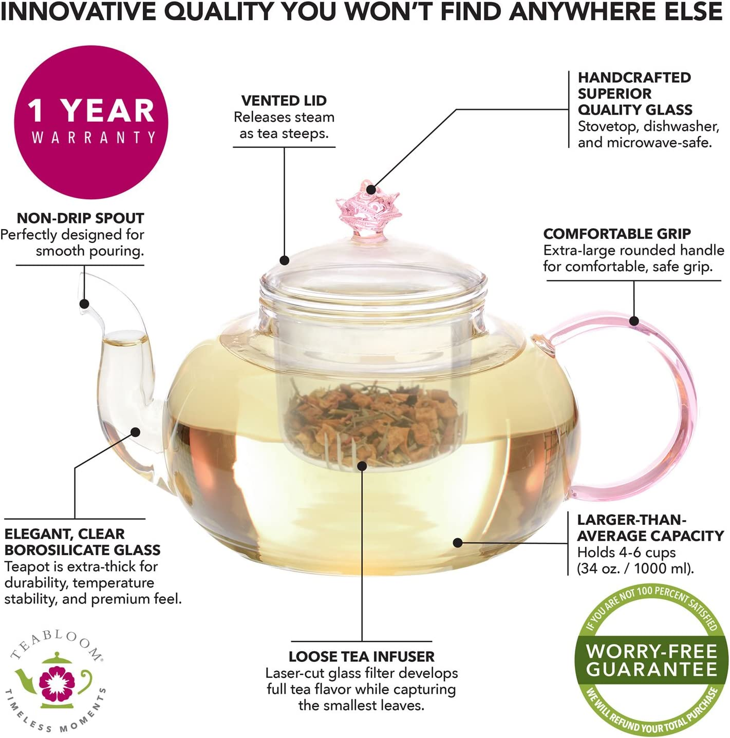 Teabloom Rose Teapot Set - 34 oz (3-4 Cups) Borosilicate Glass Teapot, Glass Tea Infuser, 2 Flowering Teas - Thermal Shock Resistant - Stovetop, Microwave, Dishwasher Safe - Pretty in Pink