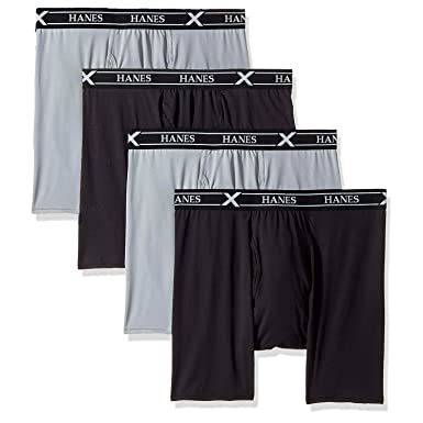 cb23737f7c6b Hanes Men's X-Temp Tagless Lightweight Wicking Boxer Brief 4 Pack at Amazon  Men's Clothing store: