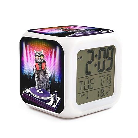 Hotqq DJ Gato Mezclador de Tocadiscos Divertido 7 LED Cambio de ...