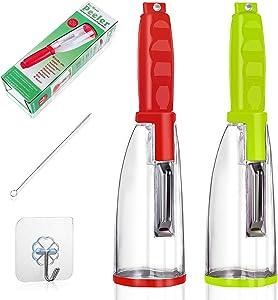 Multi-Functional Vegetable Peeler,Peeler With Storage- With Trash Can Fruit Julienne peeler - Kitchen SuppliesStorage Peeler (2 Pcs)