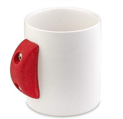 Taza de café con soporte para escalada de roca interior, 8 onzas, taza clásica con accesorio de equipo de escalador de resina rústica, acabado moderno ...