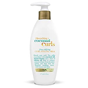 OGX Quenching Plus Coconut Curls Frizz-Defying Curl Styling Milk, 6 Fluid Ounce