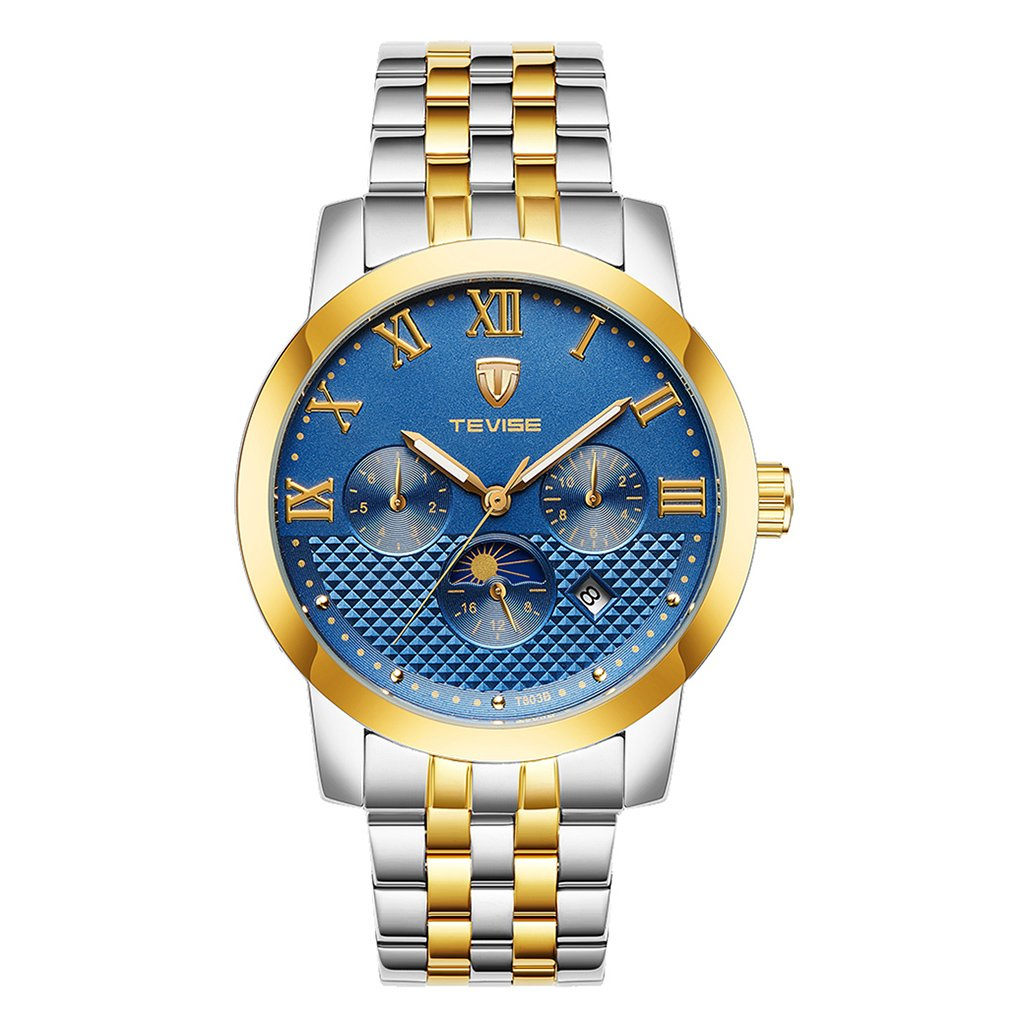 MagiDeal Mens Automatic Mechanical Calendar Chronograph Wristwatch Waterproof - Gold Blue