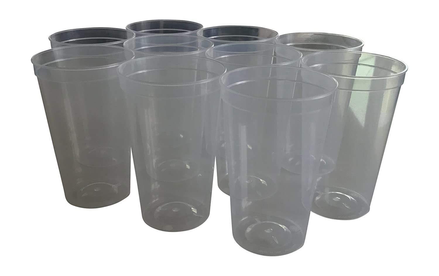 d9bc3efb20b CSBD 10 Pack Blank 22 oz Plastic Stadium Cups Bulk - Made In USA, Reusable  or Disposable, Great For Customization, Monograms, Marketing, DIY Projects,  ...