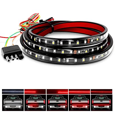 "Nilight TR-01 Truck Tailgate Bar 60"" 108 LED Strip with Red Brake White Reverse Sequential Amber Turning Signals Strobe Lights,2 Years Warranty: Automotive"