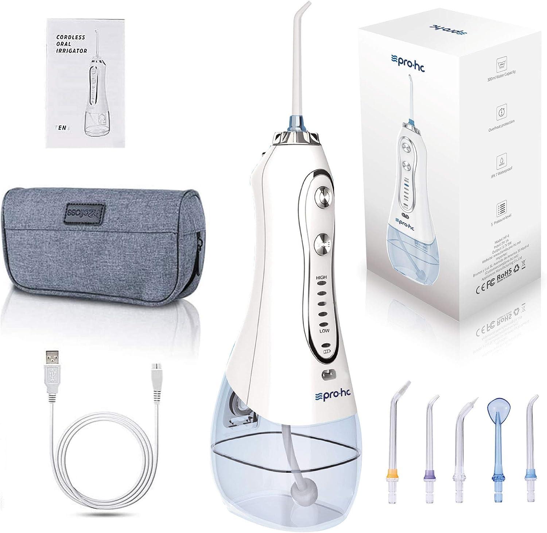 Irrigador Dental Portátil Pro-Hc Boquillas Multifuncionales 5 niveles de presión 300ml depósito, IPX7 Gravity ball y bolsa de transporte