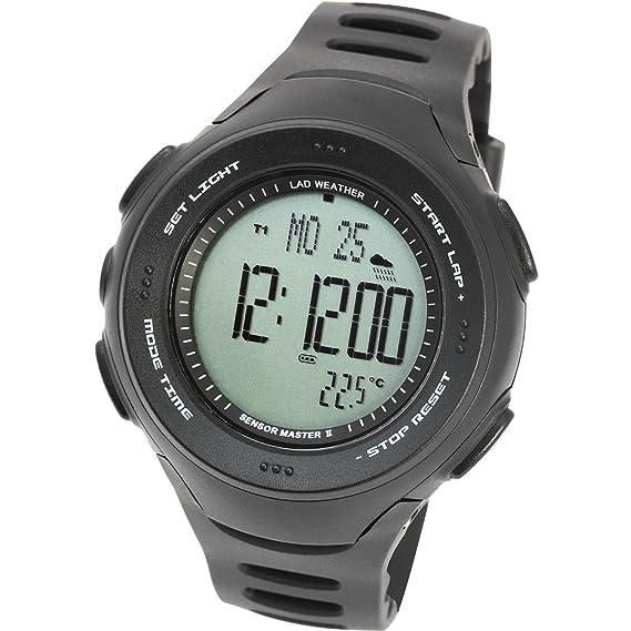 [LAD WEATHER] Americano Triple Sensor reloj Altímetro Barómetro Compás digital Pronóstico del tiempo Termómetro: Amazon.es: Relojes
