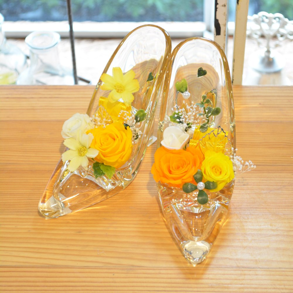 [florence du]プリザーブドフラワー プリンセスハイヒール 2足セット イエロー クリアケース付 ガラスの靴 婚約 プロポーズ 結婚祝い 結婚記念日 B01H87ARTG