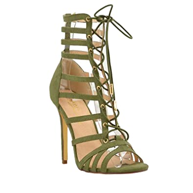 9329f542a20903 Strappy Lace Up Open Toe High Heel Gladiator Ankle Strap Buckle Sandals for  Women (5.5
