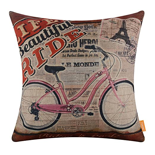 LINKWELL 18 x 18 pulgadas Vintage bicicleta Burlap manta funda de ...