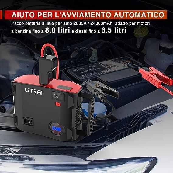 Utrai Auto Starthilfe 4 In 1 2000a 12v 150psi Autoluftpumpe Powerbank 24000mah Anlasser Mit Intelligentem Kabel Usb C Kabel Led Taschenlampe Qc 3 0 Dc Ausgang Jstar 5 Js 5 Auto