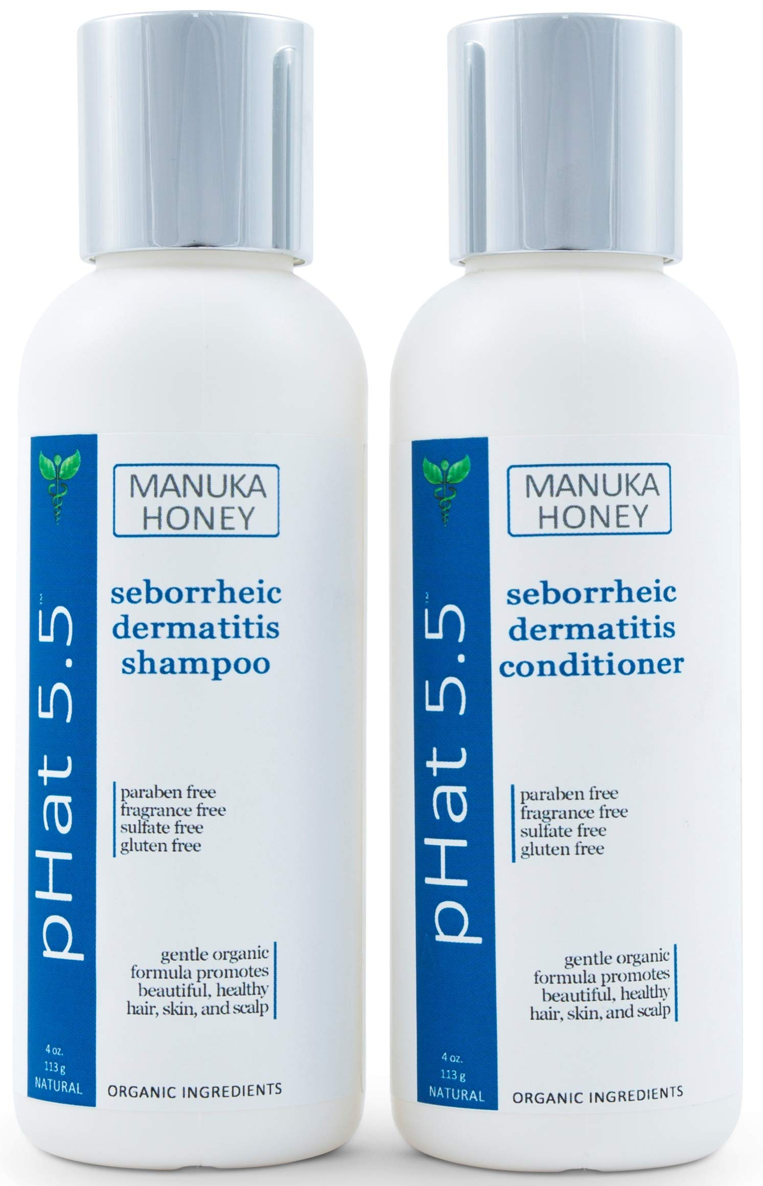 Sulfate Free Shampoo and Conditioner Set for Seborrheic Dermatitis Relief - Severe Dry & Itchy Scalp Treatment with Manuka Honey, Aloe Vera & Coconut Oil - Safe for Color Treated Hair (4 oz) by pHat 5.5