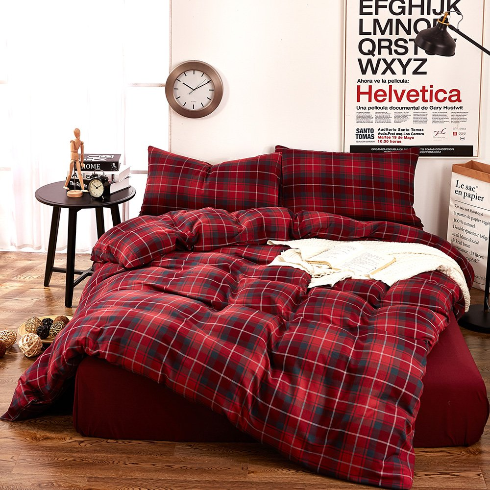 MKXI Geometric Pattern Navy Blue Grid Plaid Printed Modern Bedding Sets Cotton Duvet//Comforter Cover Queen Size MKQYNVQ