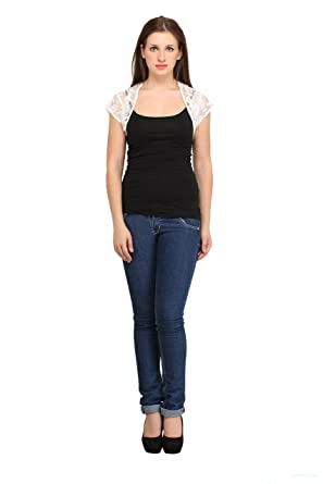 cottinfab Women's Short Length Net Shrug Women's Blouses & Shirts at amazon