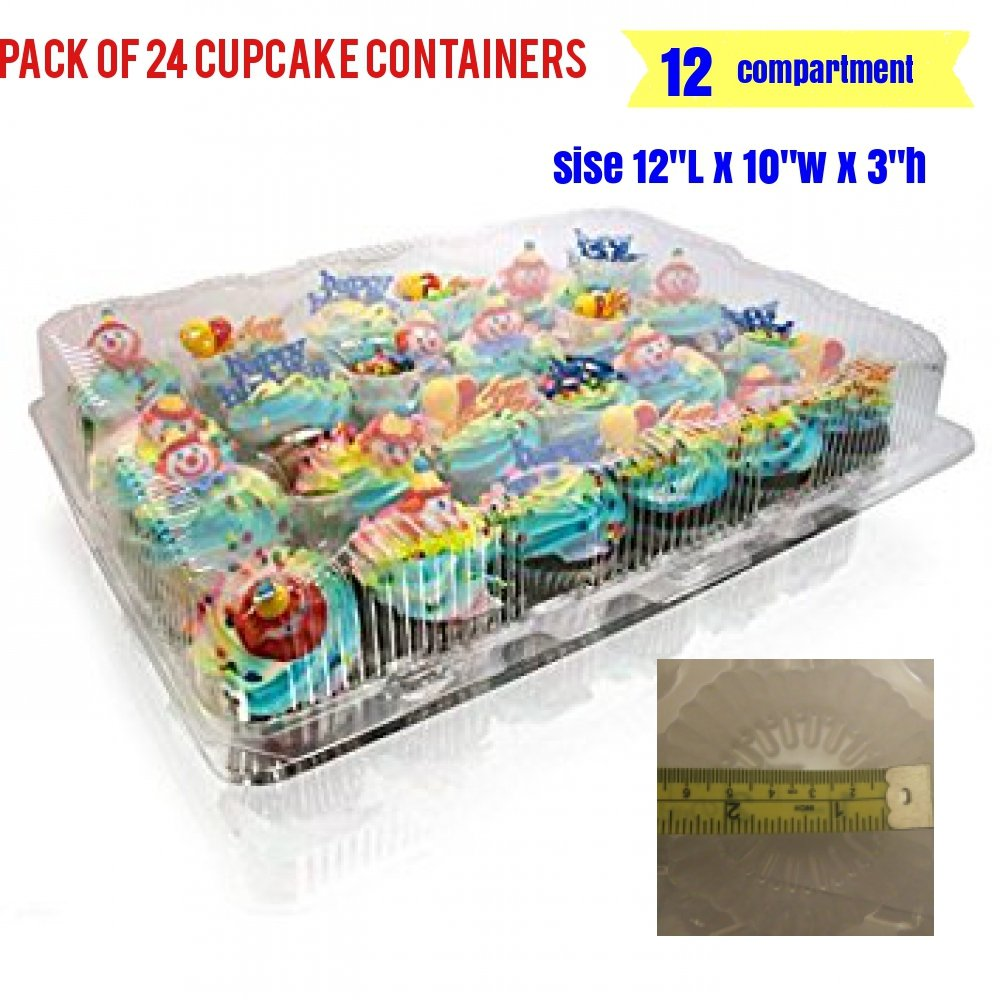12-big Compartment Cupcake Container with Hinged Lid, Clear 12 compartment cupcake boxes, clear cupcake containers, 12 Cavity Cupcake Container (24,- 12 Compartment Cupcake Boxes ) by The Bakers Pantry (Image #8)