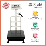 i Scale 100 kg Capacity Digital Retail Shop Heavy-Duty Platform Weighing Machine with Double Display, 16 x 16 inches pan size