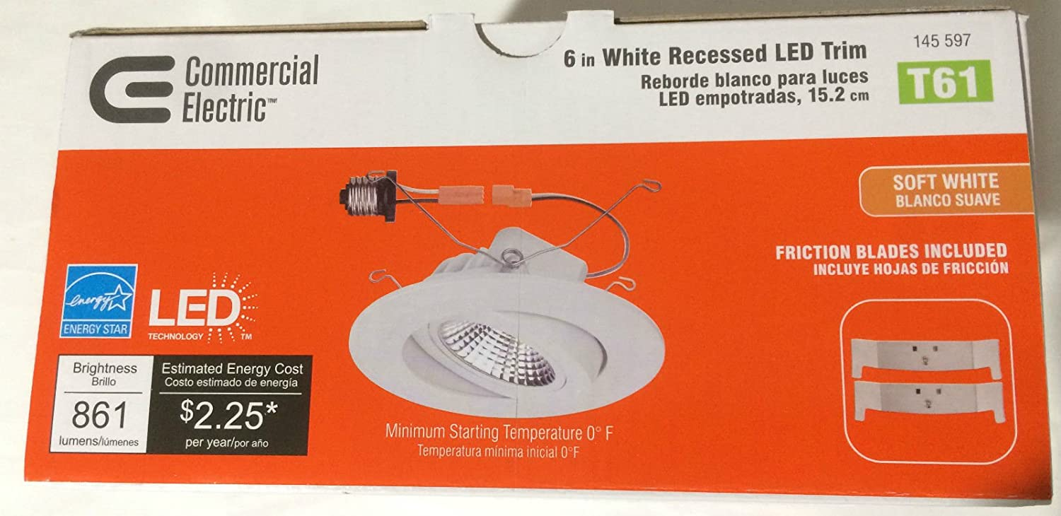 12 Pack / T61 Commercial Electric 6 in. Recessed White Gimbal LED Trim - - Amazon.com