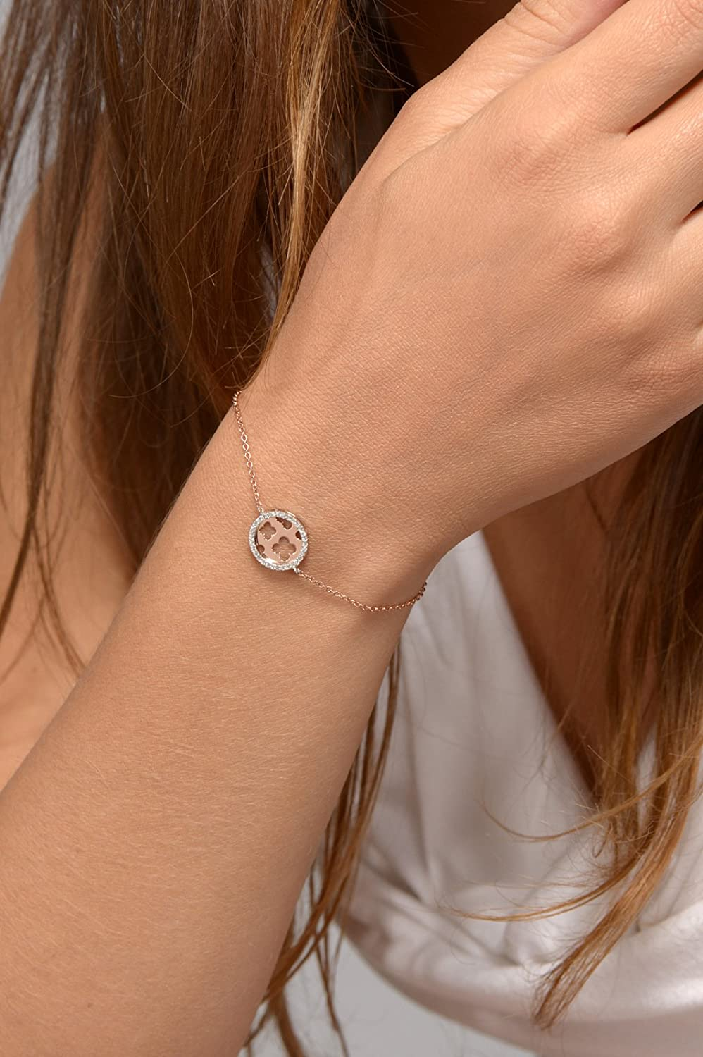 Rose Gold Plated and Sterling Silver Clover Bracelet