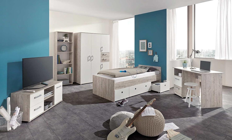 lifestyle4living Jugendzimmer, komplett, Komplettset, Kinderzimmer, Jugendbett, Scheibtisch, Standregal, Lowboard, Eiche, Eiche-Sand, Sandeiche, Weiß 3-TLG.
