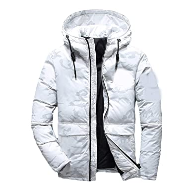 4873894d1523 Frozac New Men Winter Feather Jacket Men s Hooded Camouflage Parka Jackets  White Mens Thick Jacket Ultralight