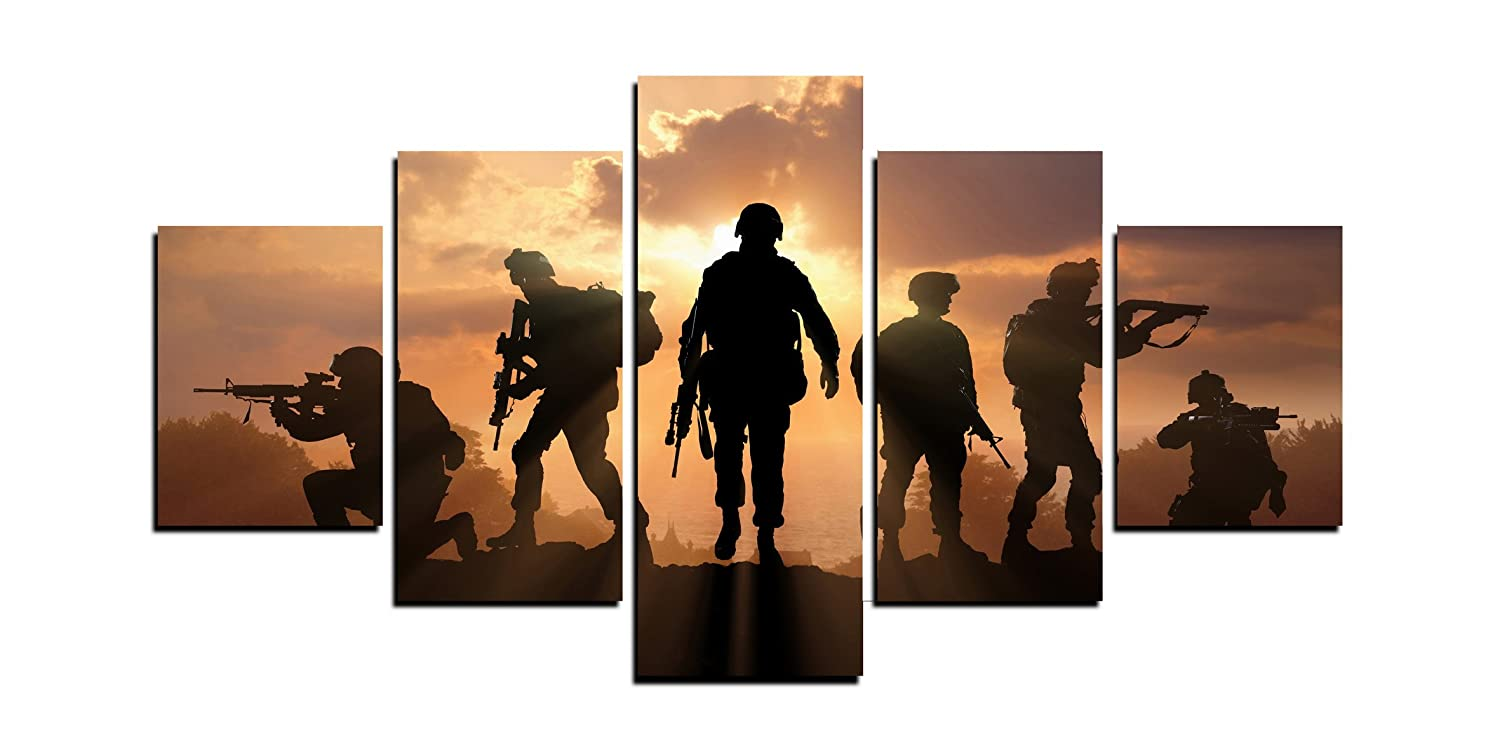 MailingArt Modern Home and Office Wall Decor 5 Panels Canvas Prints Six Military Soldier Silhouettes Photos to Prints Painting on Canvas (12x16inchx2/12x24inchx2/12x32inchx1)