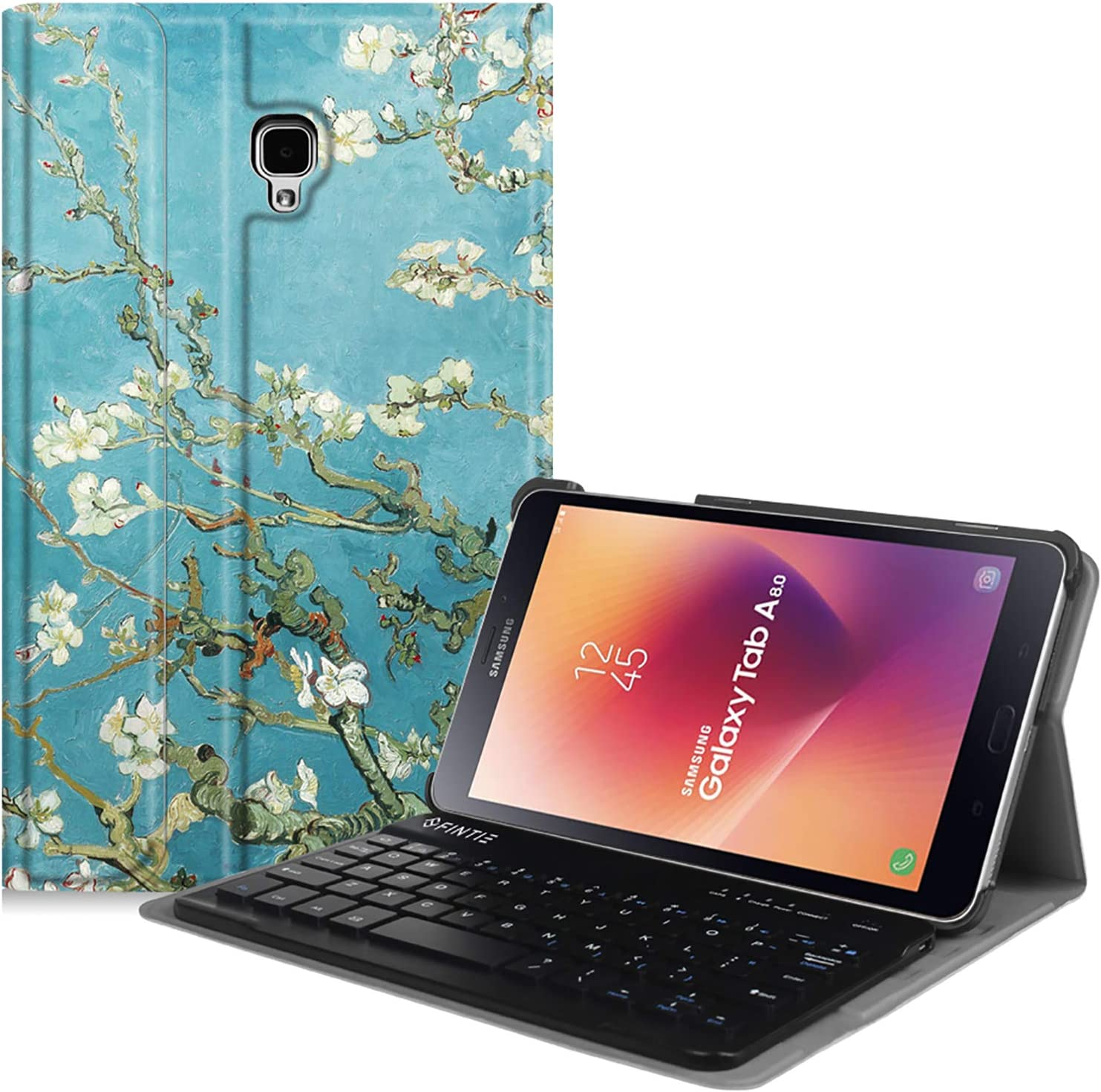 Fintie Keyboard Case for Samsung Galaxy Tab A 8.0 2017 Model T380/T385, Smart Slim Shell Stand Cover with Detachable Wireless Bluetooth Keyboard, Blossom