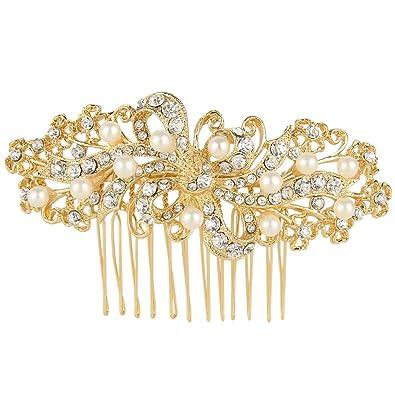 TENYE Women's Austrian Crystal Simulated Pearl Wedding Flower Brooch Clear sO7vXF