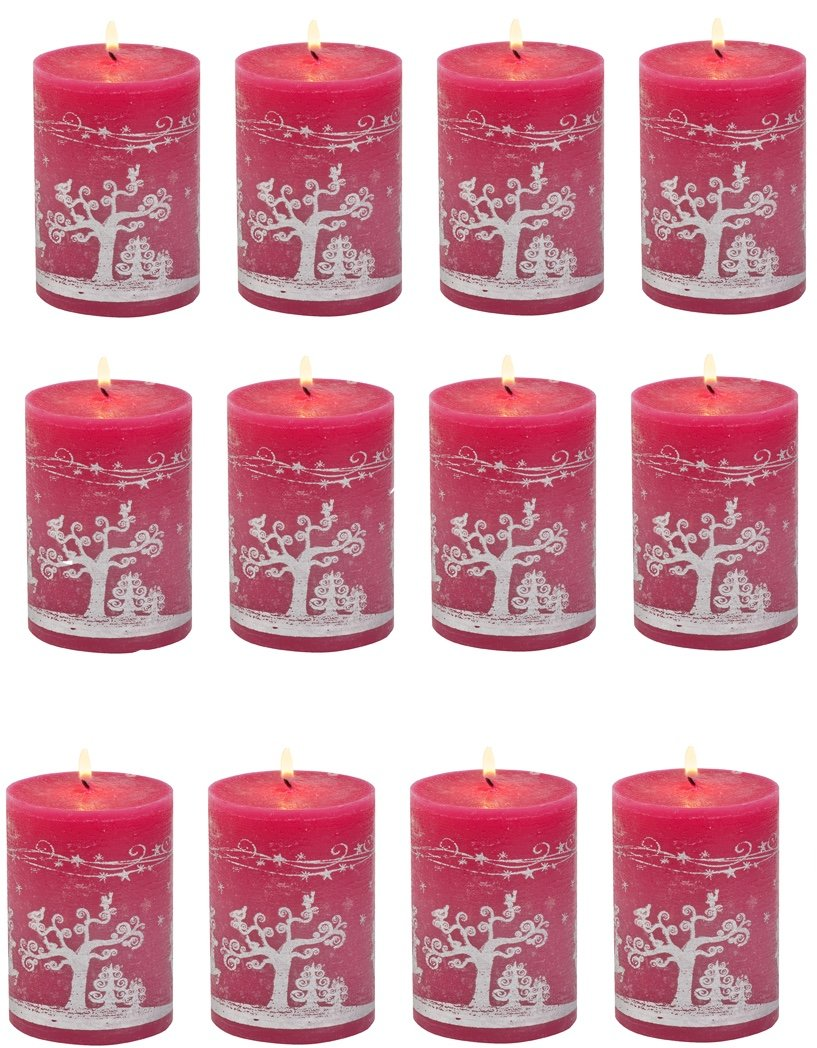 Biedermann & Sons 12 Count Reindeer Games Pillar Candles, 3 by 4-Inch C754