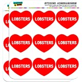 "Graphics and More I Love Heart Lobsters Planner Calendar Scrapbooking Crafting Stickers - 18 2"" Opaque Stickers"