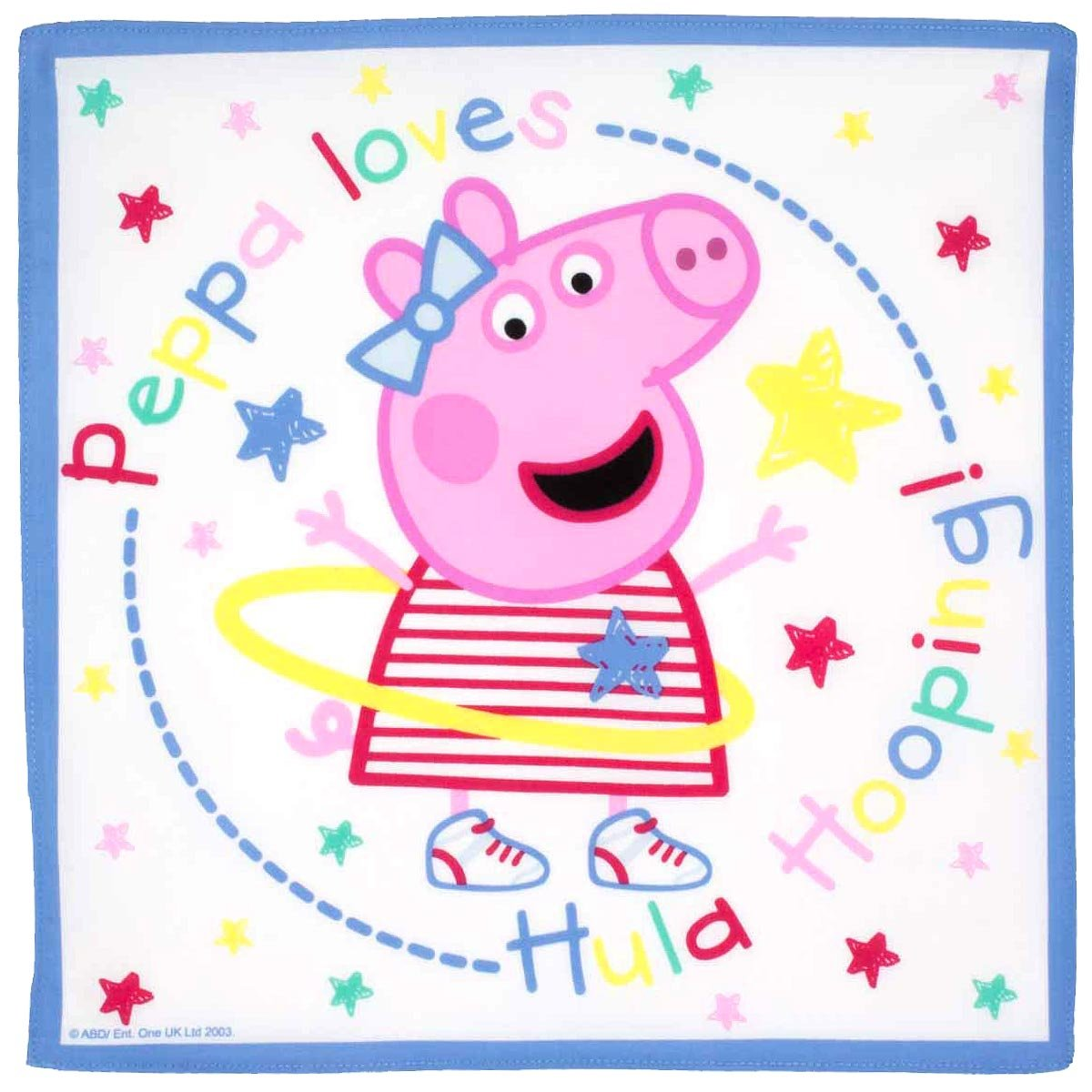 """Peppa Pig"" children's handkerchiefs - 14"" square - 3 units in a bag. Merrysquare"