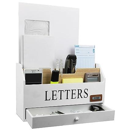 Práctico organizador de escritorio con 3 compartimentos de madera y 1 cajón, perfecto para el correo, diseño rústico, color blanco y madera