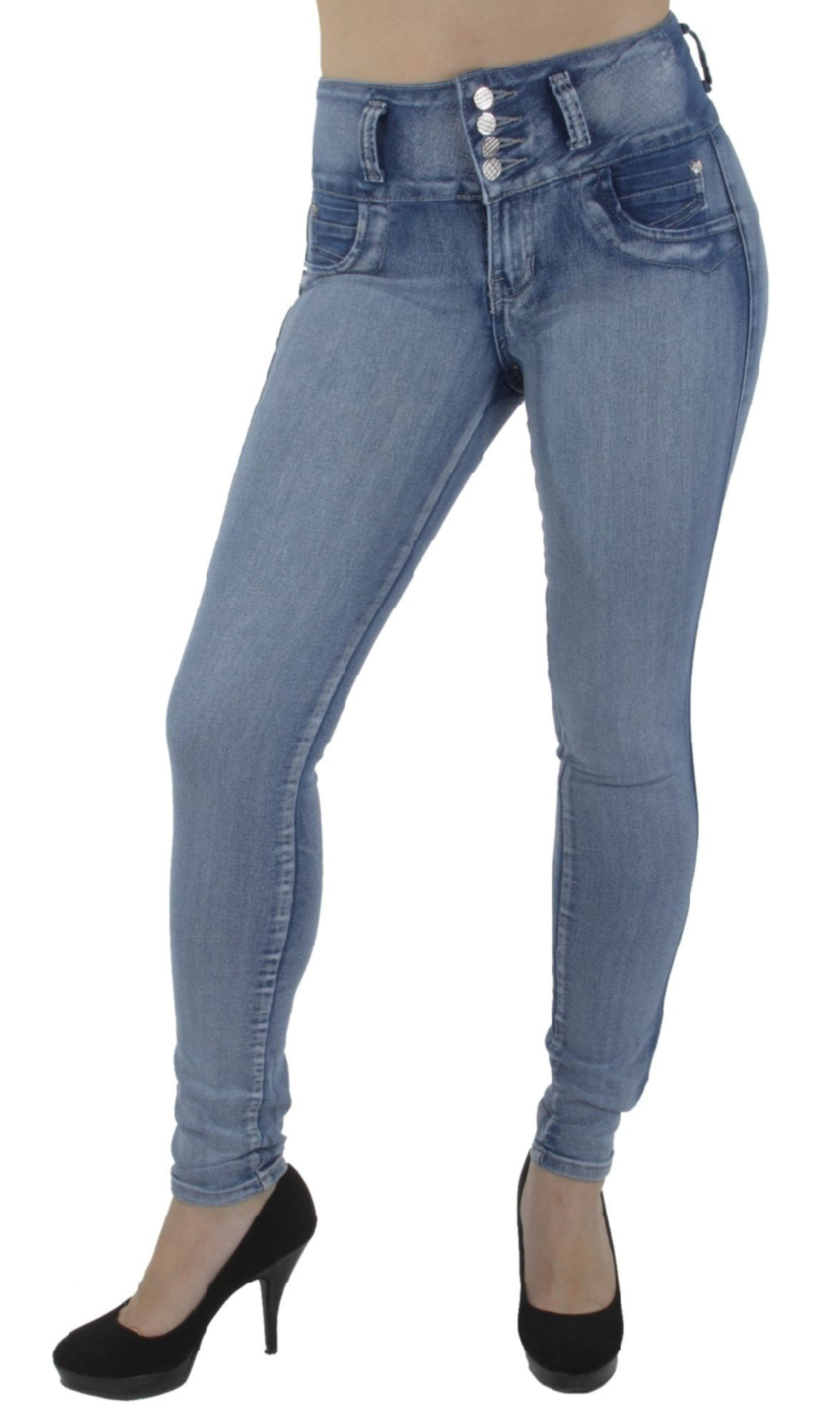 Style G208P– Plus Size, Colombian Design, High Waist, Butt Lift, Skinny Jeans in M. Blue Size 18