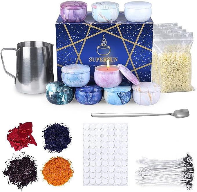 Kit de Fabricación para Velas de Bricolaje, 480g Cera de Abejas, 50 Mechas para Velas, 4 Tintes de Color, 500ml Jarra para Derretir Cera de Velas, 100 ...