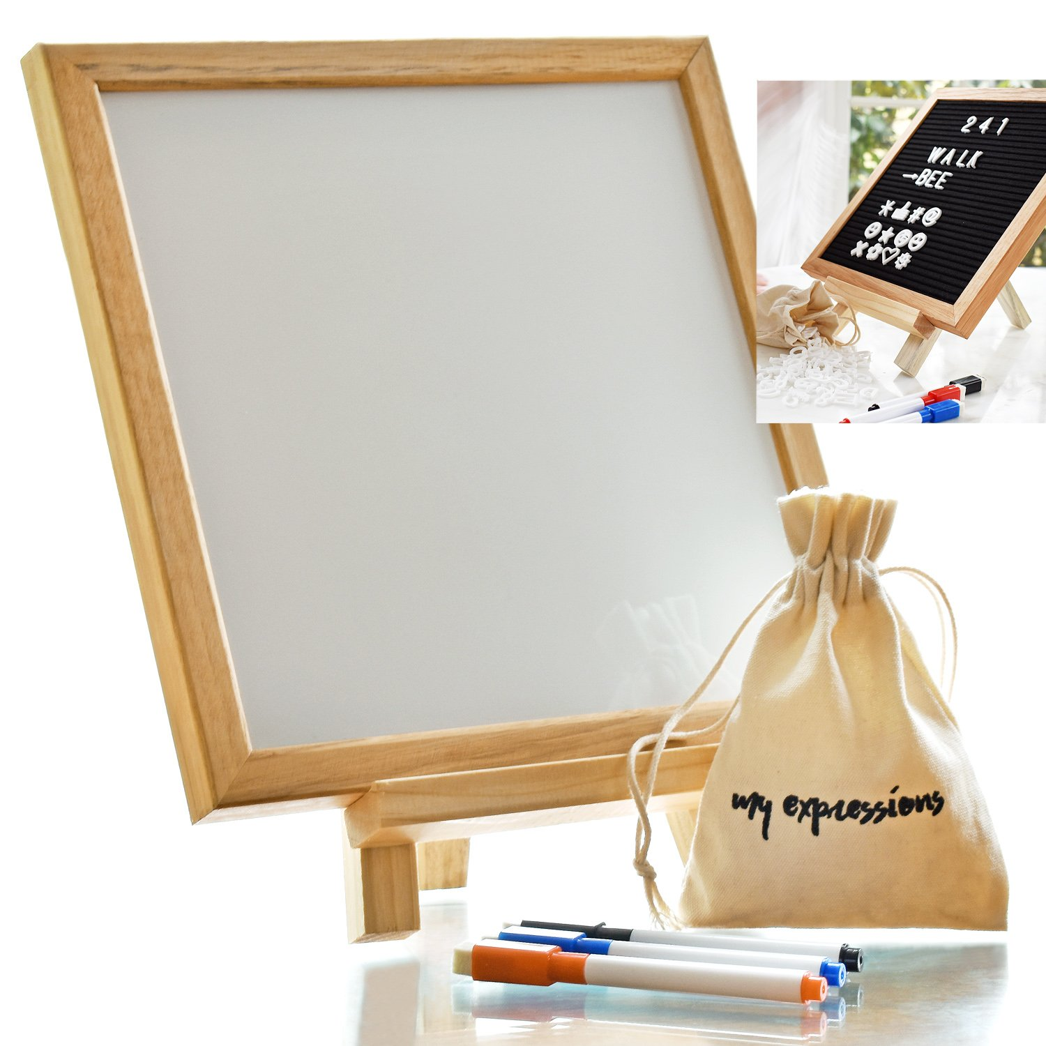 Just4You Felt Letter Board and a WhiteBoard 10x10 Inches 2in1. 340 White Plastic Letters, Oak Frame, 3 Markers with eraser tip and stand. SmartGadgets
