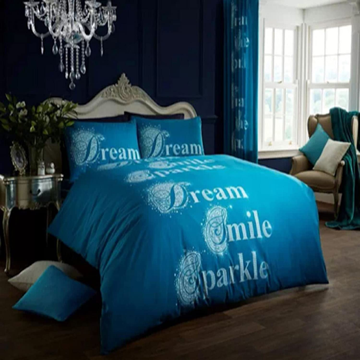 DESIGNER PRINTED BEDDINGS DREAM SMILE SPARKLE DUVET QUILT COVER SHEET PILLOW SET[Teal ,Single] Unbranded