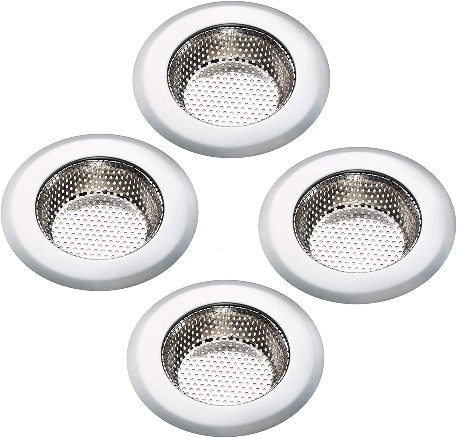 4 Pack Kitchen Sink Strainer - Large Wide Rim 4.5 Inches Diameter - Stainless Steel Drain Colander Filter Basket Protector Screen Cover Plug Trap Accessories, Garbage Disposal Stopper Catcher
