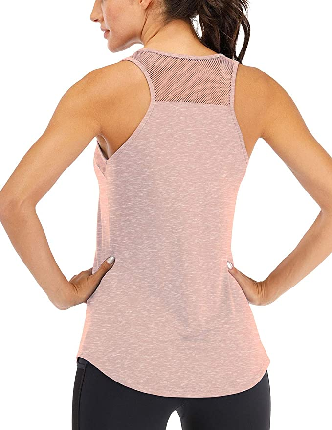 YAJIANMEI Workout Tank Tops for Women Racerback Yoga Tanks Quick-Drying Breathable mesh Loose Vest
