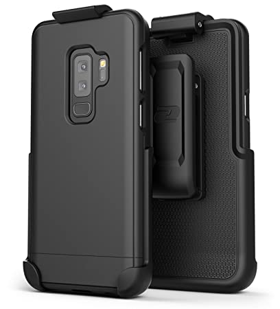 low priced 8c90a adea0 Encased Galaxy S9 Plus Belt Case, [SlimShield Series] Protective Grip Case  with Holster Clip for Samsung Galaxy S9+ (2018 Release) Smooth Black