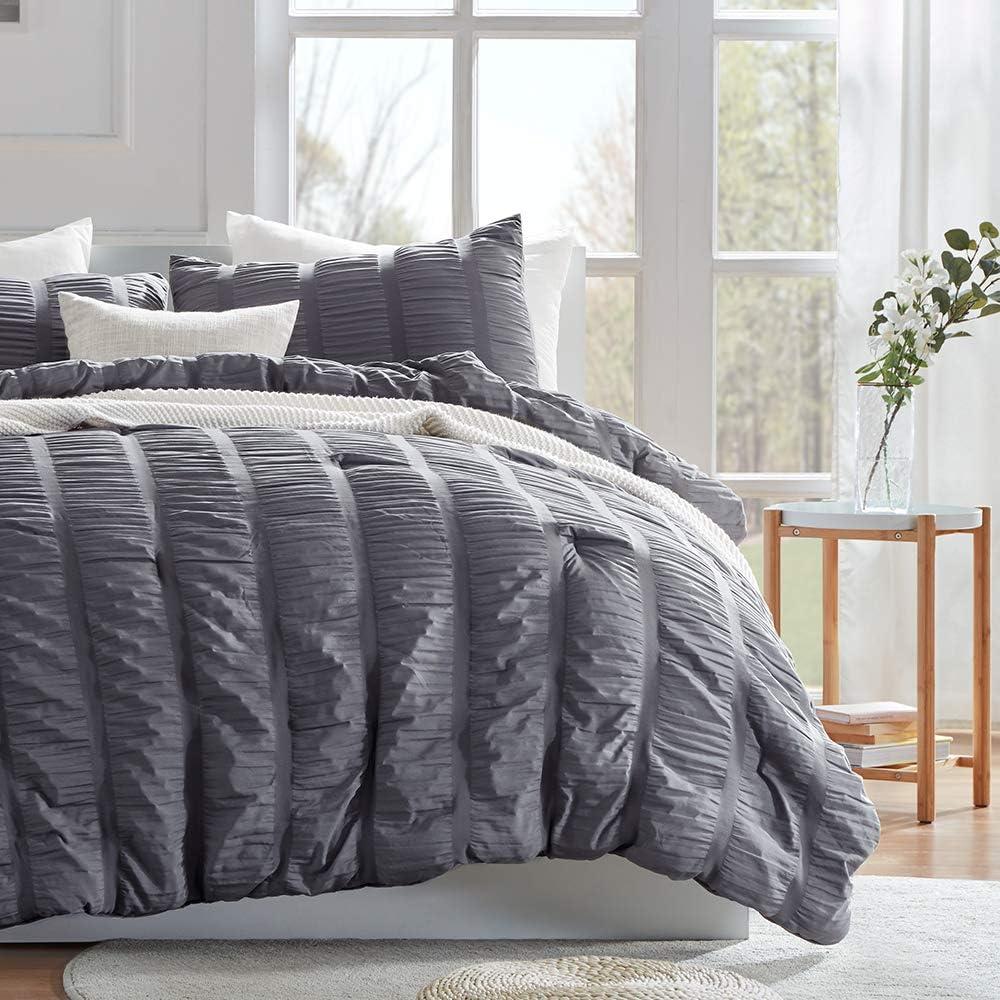 SLEEP ZONE All Season Seersucker Comforter Set Luxury Down Alternative Lightweight Easy-wash Fluffy Soft Microfiber Duvet Insert 3-Pieces (Gray, King)