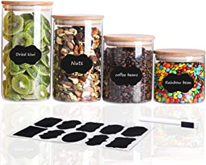 TIANGR 4 Pack Glass Storage Jars 26/34/45/53 oz, Airtight Food Container with Bamboo Lid, Kitchen Canister For Tea, Coffee Bean, Candy, Cookie, Nuts - Include Stickers & Marker