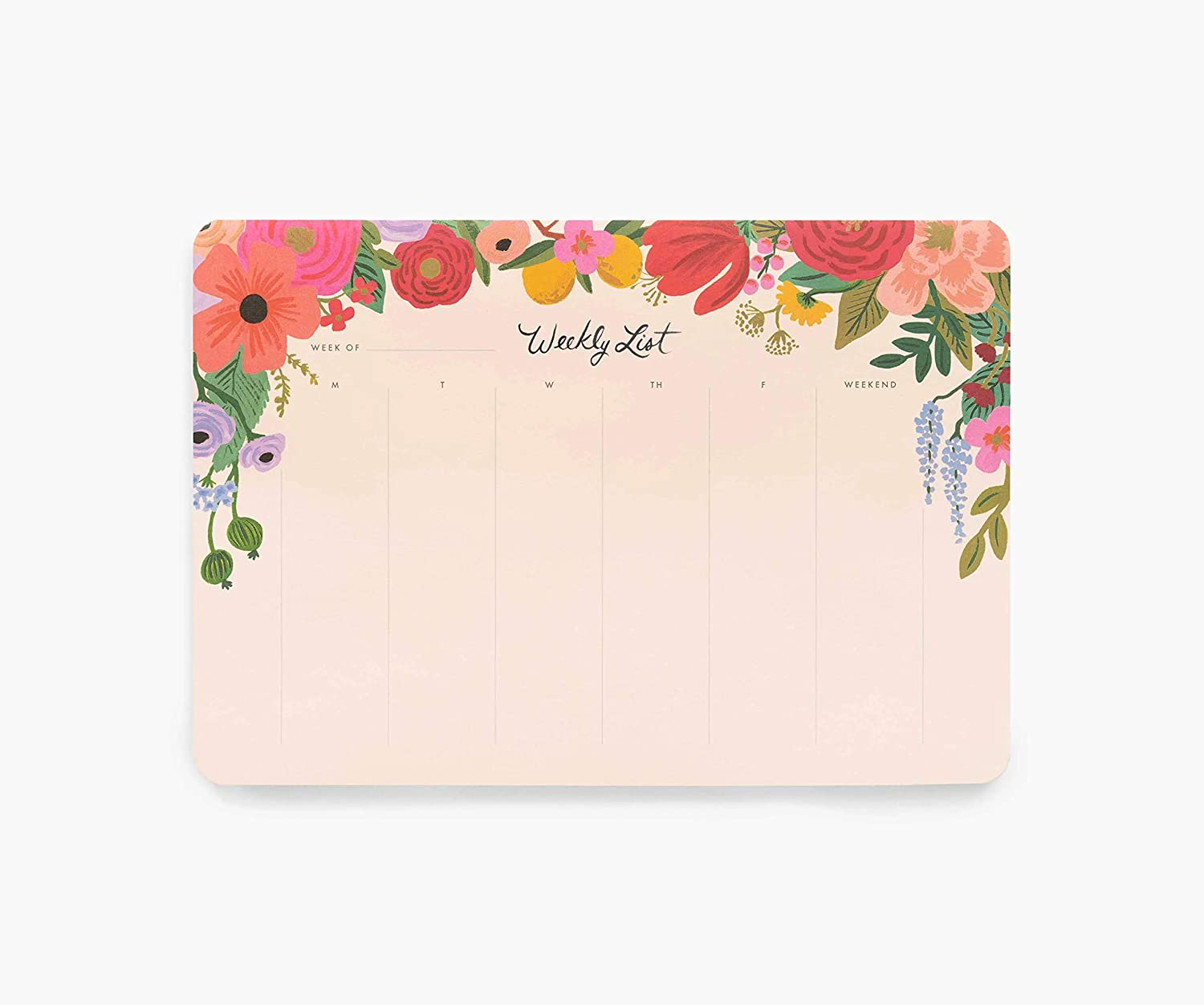 Rifle Paper Co. Garden Party Weekly Desk Pad, 52 Tear-Off Pages, Doubles as a Mouse Pad, Helps You Map Out Your Week for a Whole Year, Printed in Full Color
