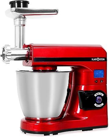 Klarstein Grande Nero - Robot de cocina (1000 W, varillas de batir y mezclar y gancho para amasar, recipiente de acero inoxidable de 7 L, 7 velocidades), color negro rot-silber: Amazon.es: Hogar