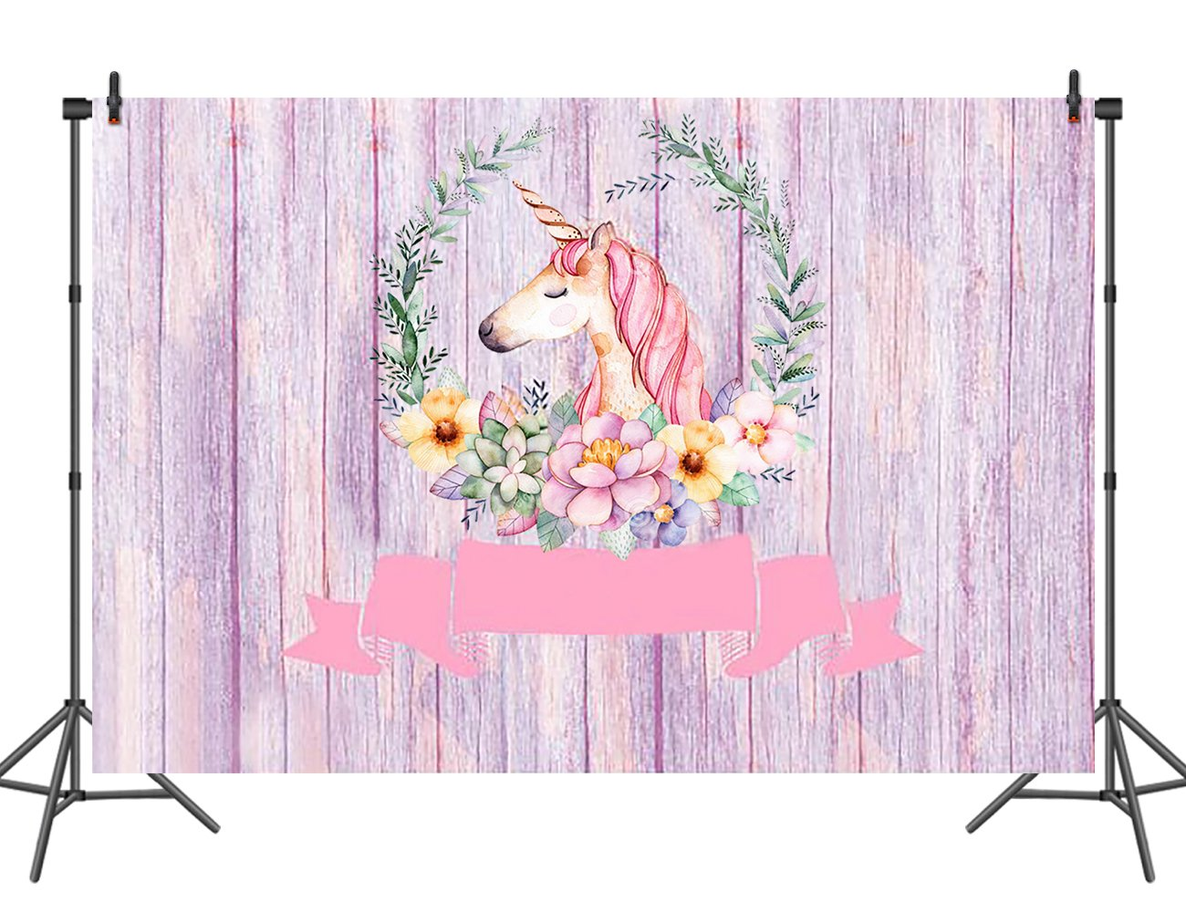 Unicorn Photo Backdrop for Girls Floral Pink Wood Photography Background Baby Shower Party Decoration Dessert Table 7x5ft