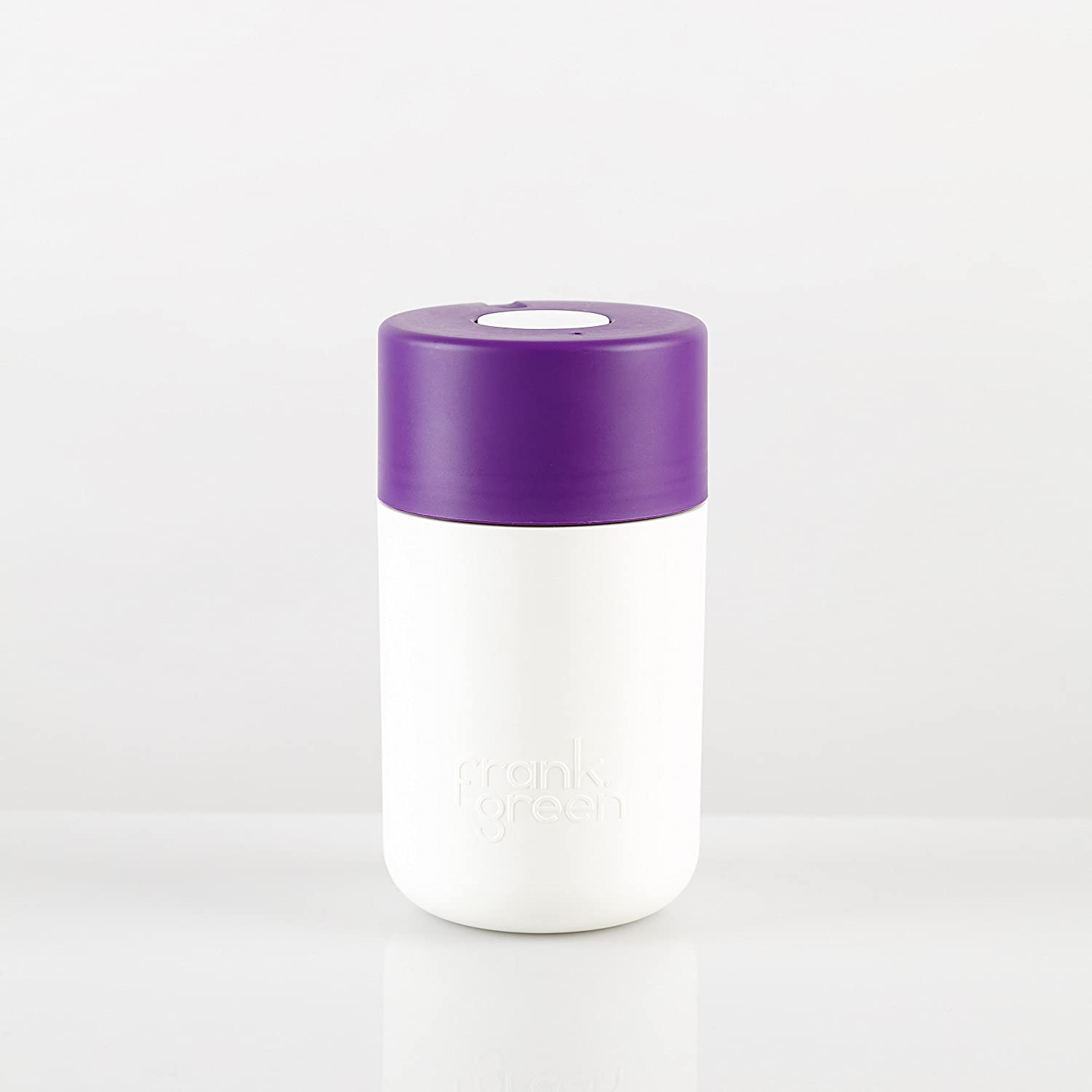 SmartCup by frank green 12oz reusable Coffee Cup White BasePurple LidWhite Button