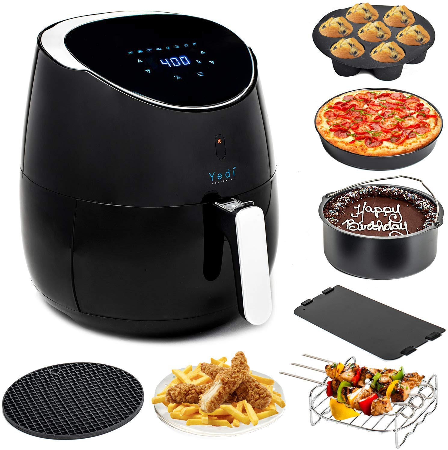 Total Package Air Fryer, 8-in-1 Digital Screen, with Endless Recipes, and Deluxe Accessory Kit by Yedi Houseware (5.8 QT) by YEDI HOUSEWARE