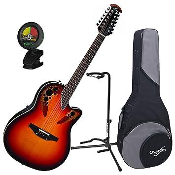 Ovation 2758 ax-neb estándar Elite 12-string nueva Inglaterra ráfaga guitarra w/caso, sintonizador, y soporte: Amazon.es: Instrumentos musicales