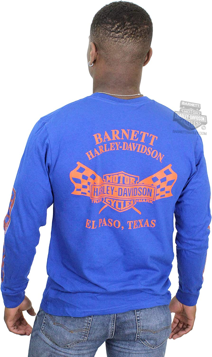 Harley-Davidson Mens Open Road Wanderer Trademark B/&S Blue Long Sleeve T-Shirt