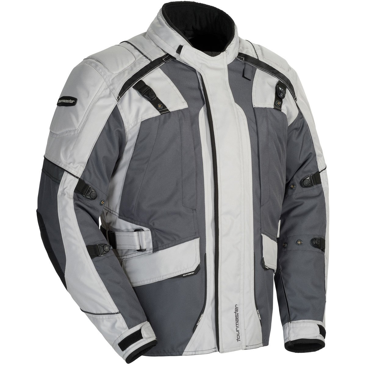 Tour Master Transition Series 4 Men's Textile Sports Bike Racing Motorcycle Jacket - Light Grey/Gun Metal / 2X-Large